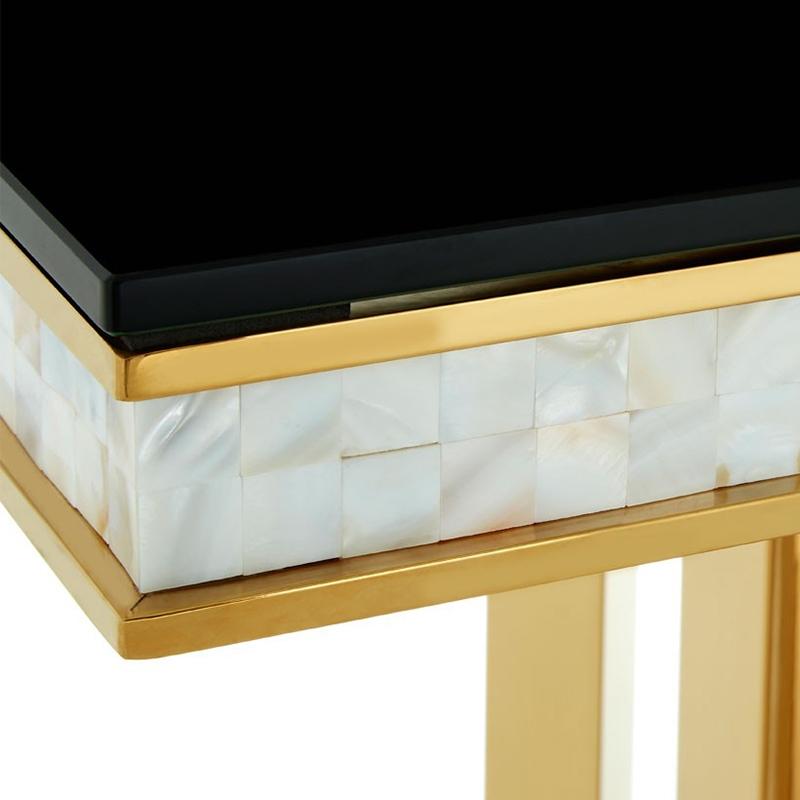 Bergamo Black Glass Amp Gold Console Table Lycroft Interiors