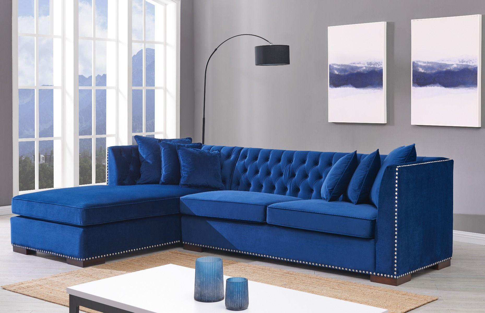 Windsor Royal Blue Velvet Studded Left Side Facing Corner ...
