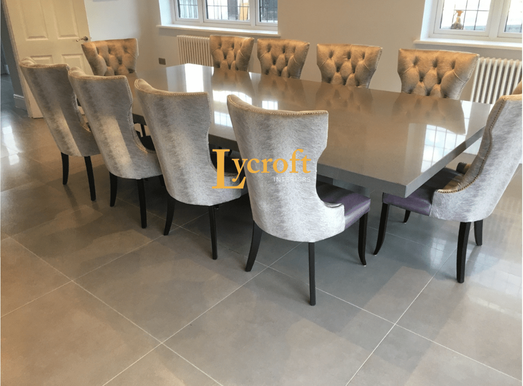 Quartz Dark Grey 3 1 X 120 Twin Colum Dining Table Quartz Tables Quartz Dining Tables Custom Made Bespoke Quartz Tables Lycroft Interiors