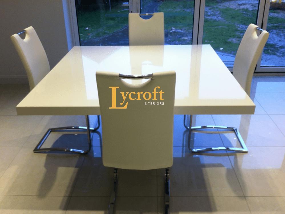 Quartz 1 3 White Square Dining Quartz Tables Quartz Dining Tables Custom Made Bespoke Quartz Tables Lycroft Interiors
